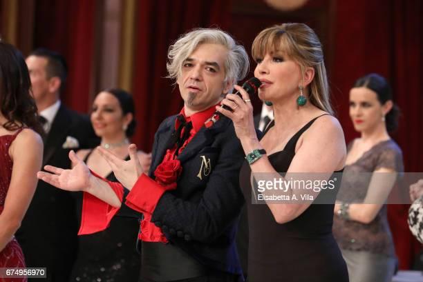 Milly Carlucci and singer Marco Castoldi aka Morgan attend the Italian TV show 'Ballando Con Le Stelle' at Auditorium Rai on April 29 2017 in Rome...