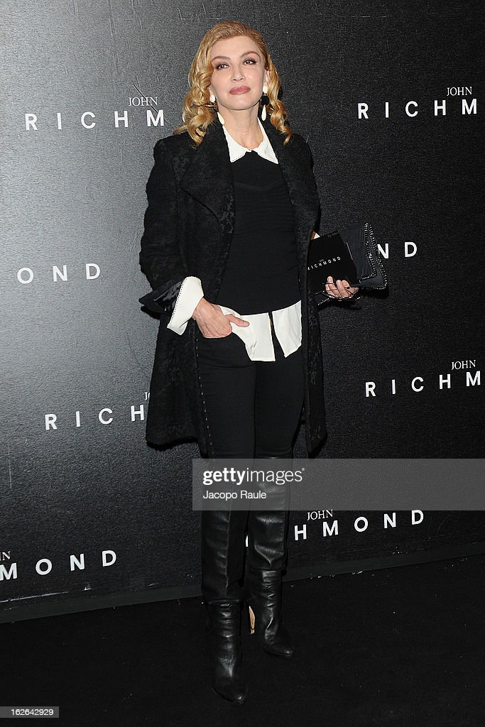 Milly Carlucci attends the John Richmond fashion show as part of Milan Fashion Week Womenswear Fall/Winter 2013/14 on February 25, 2014 in Milan, Italy.