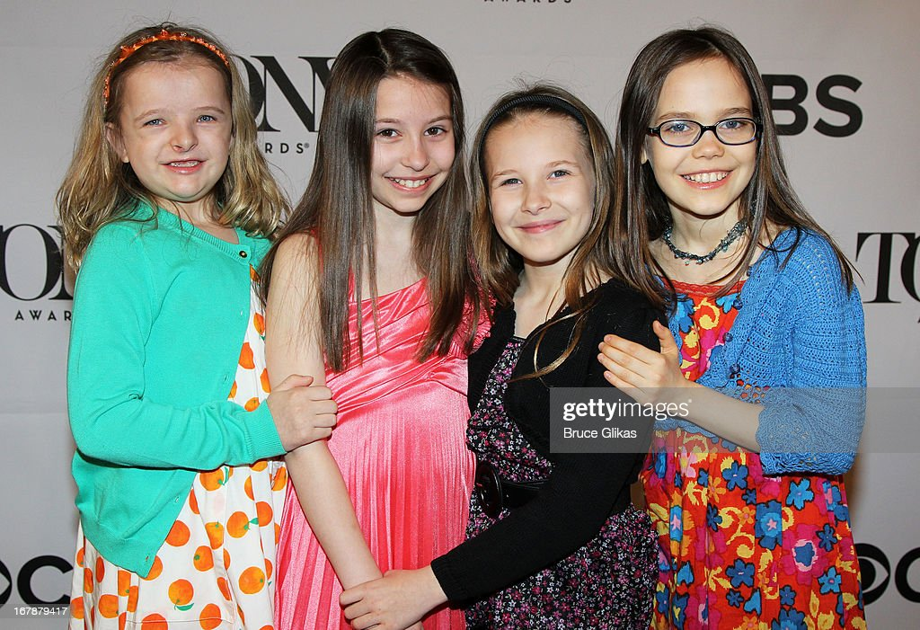 Milly Shapiro, Bailey Ryon, Sophia Gennusa and Oona Laurence attend the 2013 Tony Awards: The Meet The Nominees Press Junket at the Millenium Hilton on May 1, 2013 in New York City.