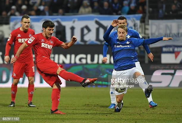 Milo Jojic of Koeln scores his team's fifth goal during the Bundesliga match between SV Darmstadt 98 and 1 FC Koeln at Stadion am Boellenfalltor on...