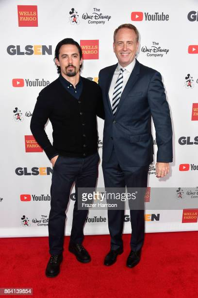 Milo Ventimiglia and honorary cochair Robert Greenblatt at the 2017 GLSEN Respect Awards at the Beverly Wilshire Four Seasons Hotel on October 20...