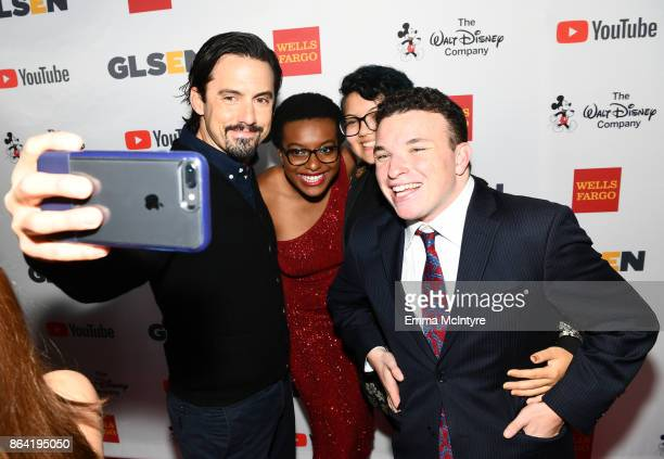 Milo Ventimiglia honoree Ose Arheghan and GLSEN National Student Council members Marcus Breed and Danny Charney at the 2017 GLSEN Respect Awards at...