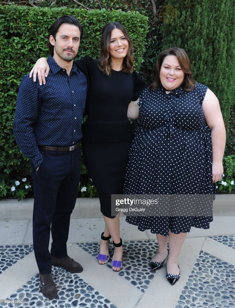 Milo Ventimiglia, Mandy Moore and Chrissy Metz arrive at The Rape Foundation's Annual Brunch at a private residence on October 8, 2017 in Los Angeles, California.