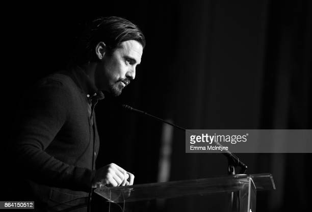 Milo Ventimiglia speaks onstage duriing the 2017 GLSEN Respect Awards at the Beverly Wilshire Hotel on October 20 2017 in Los Angeles California