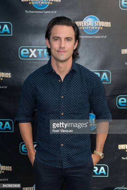 Milo Ventimiglia visits 'Extra' at Universal Studios Hollywood on August 30 2017 in Universal City California