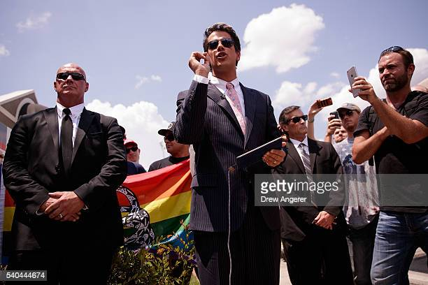 Milo Yiannopoulos a conservative columnist and internet personality holds a press conference down the street from the Pulse Nightclub June 15 2016 in...