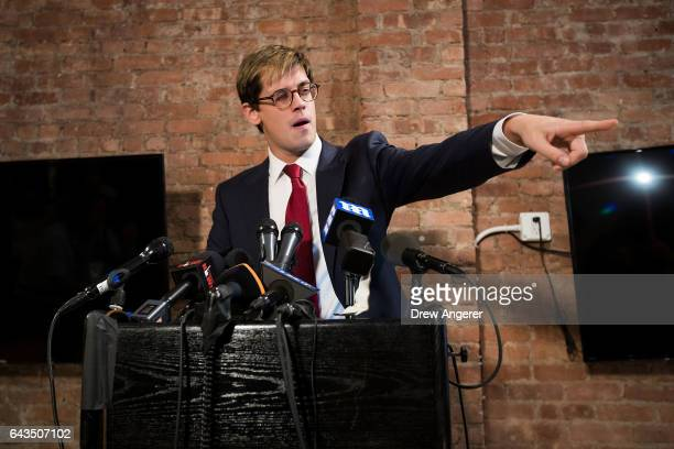 Milo Yiannopoulos announces his resignation from Brietbart News during a press conference February 21 2017 in New York City After comments he made...