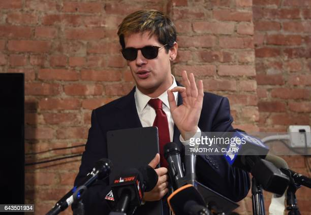 Milo Yiannopoulos holds a press conference in New York on February 21 2017 The conservative firebrand Milo Yiannopoulos resigned Tuesday from the...