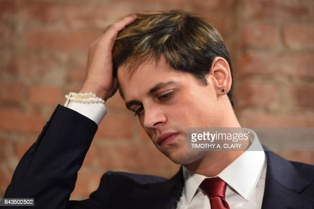TOPSHOT Milo Yiannopoulos holds a press conference in New York on February 21 2017 The conservative firebrand Milo Yiannopoulos resigned Tuesday from...