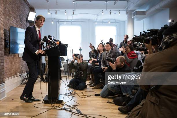 Milo Yiannopoulos takes questions from the media during a press conference February 21 2017 in New York City After comments he made regarding...