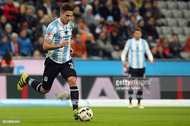 Milos Degenek of Muenchen in action during the Second Bundesliga match between TSV 1860 Muenchen and 1 FC Kaiserslautern at Allianz Arena on November...