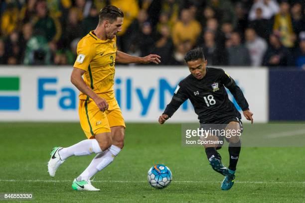 Milos Degenek of the Australian National Football Team and Chanathip Songkrasin of the Thailand National Football Team contest the ball during the...