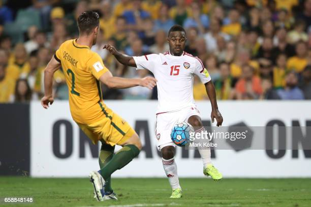 Milos Degenek of the Socceroos and Ismael Al Hammadi of the United Arab Emirates compete for the ball during the 2018 FIFA World Cup Qualifier match...