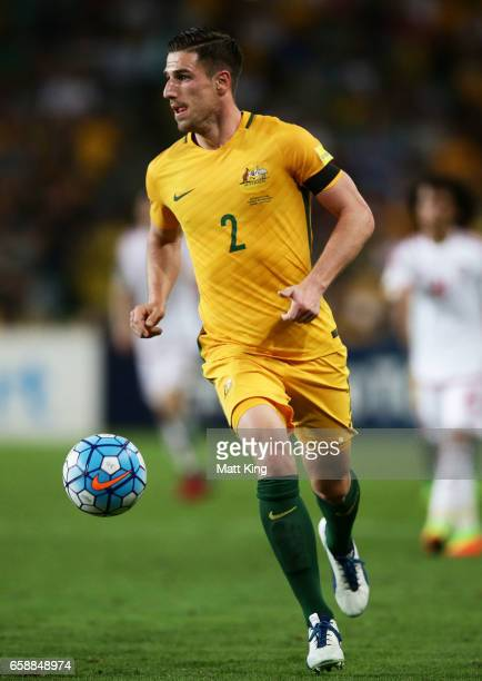 Milos Degenek of the Socceroos controls the ball during the 2018 FIFA World Cup Qualifier match between the Australian Socceroos and United Arab...