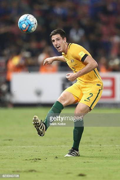 Milos Degenek of the Socceroos passes during the 2018 FIFA World Cup Qualifier match between Thailand and the Australia Socceroos at Rajamangala...