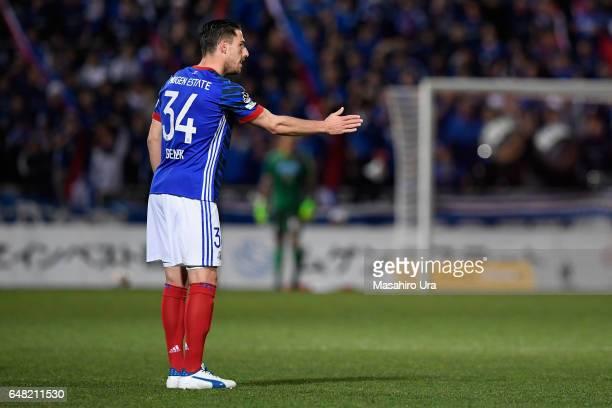 Milos Degenek of Yokohama FMarinos gestures during the JLeague J1 match between Yokohama FMarinos and Consadole Sapporo at Nippatsu Mitsuzawa Stadium...