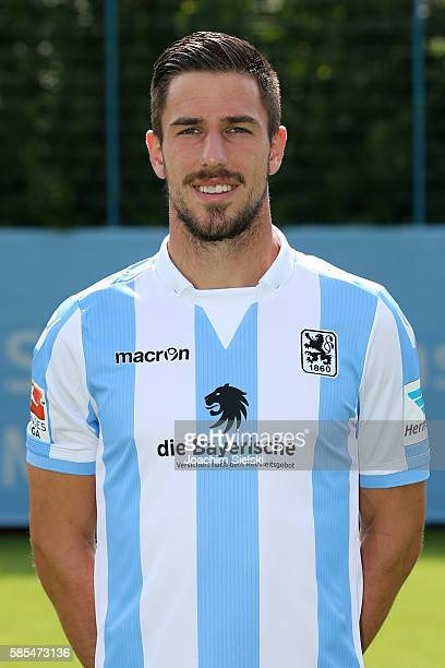 Milos Degenek poses during the official team presentation of TSV 1860 Muenchen at Trainingsgelaende on July 22 2016 in Munich Germany