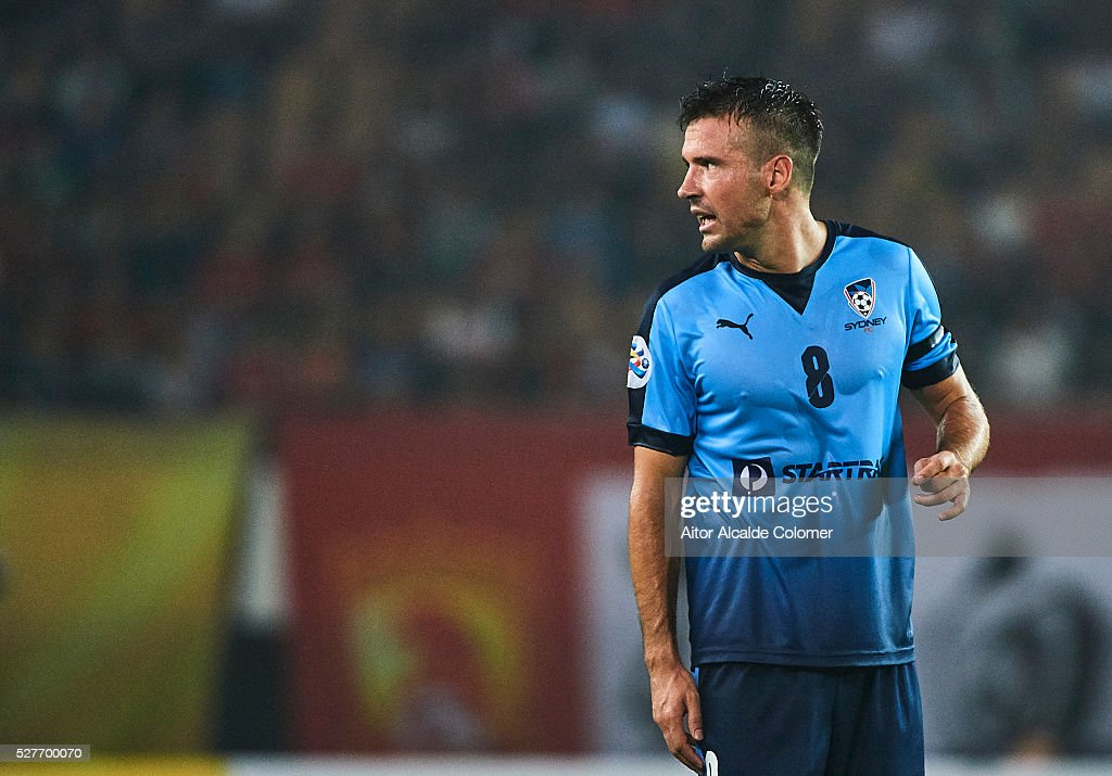 Milos Dimitrijevic of Sydney FC looks on during the AFC Asian Champions League match between Guangzhou Evergrande FC and Sydney FC at Tianhe Stadium on May 3, 2016 in Guangzhou, China.