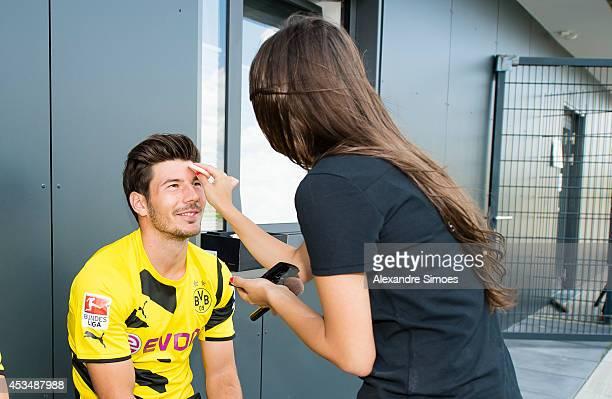 Milos Jojic attends the Borussia Dortmund team presentation on August 11 2014 in Dortmund Germany