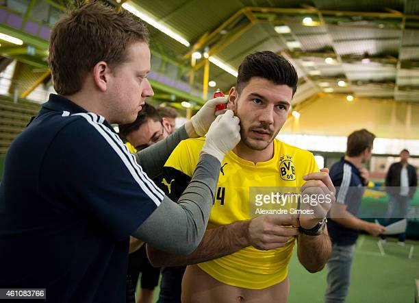 Milos Jojic of Borussia Dortmund during the club's lactate testing at HelmutKoernigHalle on JANUARY 6 2015 in Dortmund Germany