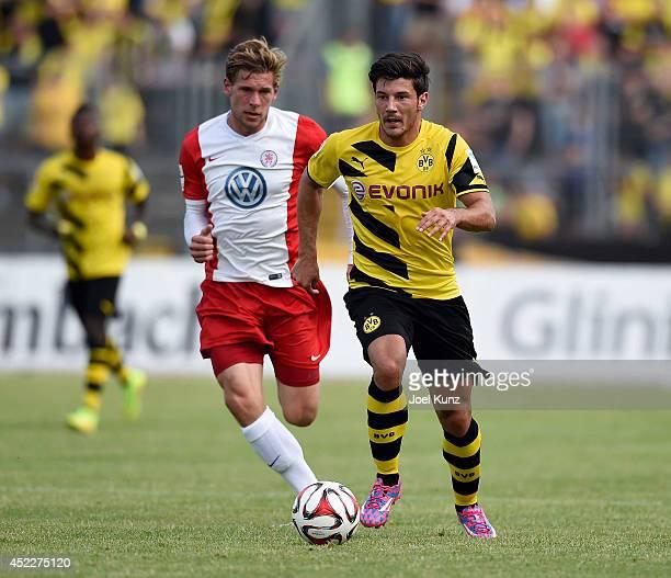 Milos Jojic of Borussia Dortmund in action during the Hessen Kassel v Borussia Dortmund Friendly Match on July 15 2014 Kassel Germany