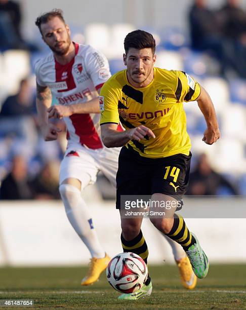 Milos Jojic of Dortmund in action during a friendly match between Borussia Dortmund and FC Sion during day 4 of Borussia Dortmund training camp on...