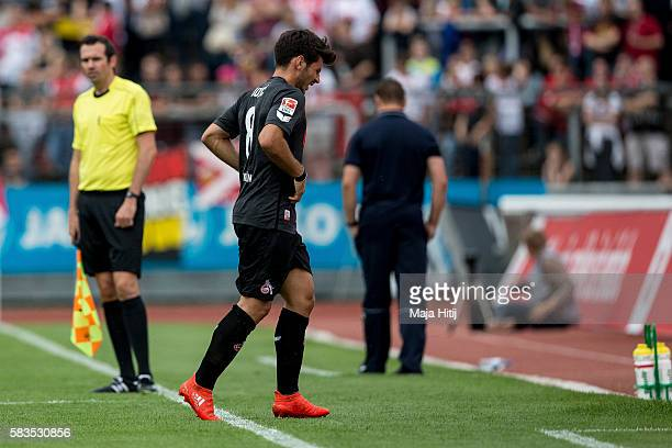 Milos Jojic of FC Koeln leaves the pitch during the preseason friendly match between Fortuna Koeln and 1 FC Koeln at Sued Stadion on July 26 2016 in...