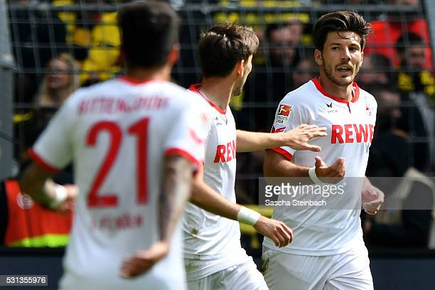 Milos Jojic of Koeln celebrates after scoring his team's second goal during the Bundesliga match between Borussia Dortmund and 1 FC Koeln at Signal...
