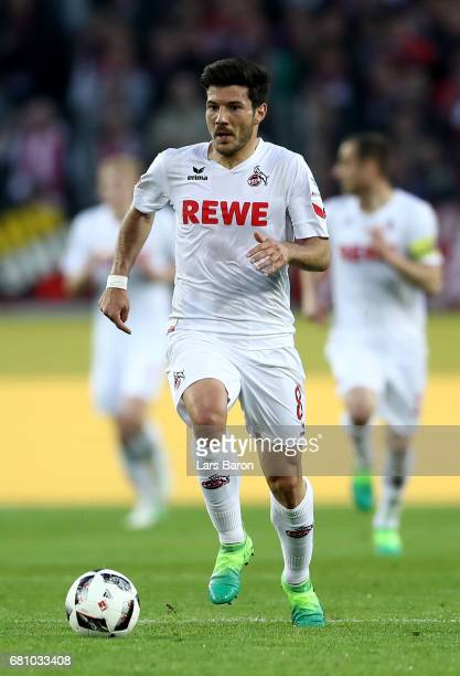 Milos Jojic of Koeln runs with the ball during the Bundesliga match between 1 FC Koeln and Werder Bremen at RheinEnergieStadion on May 5 2017 in...