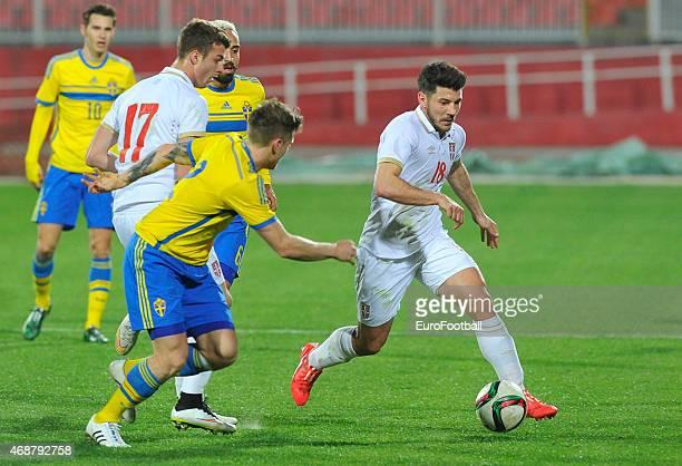 Milos Jojic of Serbia controls the ball during the Under21 friendly football match between Serbia and Sweden on March 27 2015 at the Karadjordje...