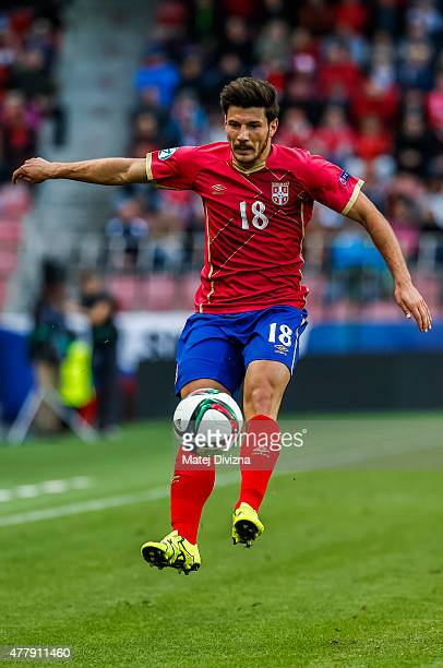Milos Jojic of Serbia in action during UEFA U21 European Championship Group A match between Serbia and Czech Republic at Letna Stadium on June 20...