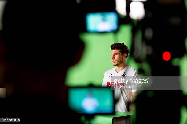 Milos Jojic of the 1 FC Koeln is seen on the set for video recordings during the media day on July 2016 in Cologne Germany