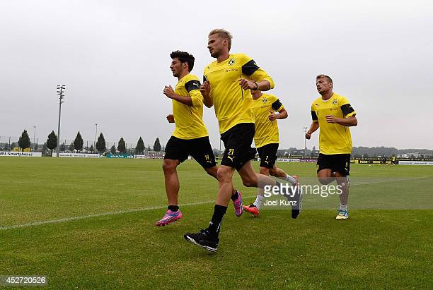 Milos Jojic Oliver Kirch and Ciro Immobile during a training session at Borussia Dortmund training ground on July 26 2014 in Dortmund Germany