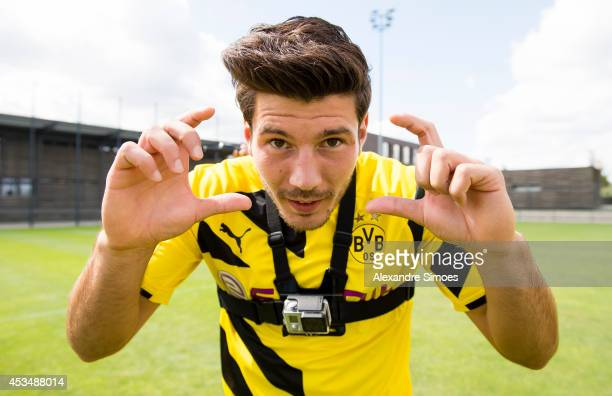Milos Jojic poses during the Borussia Dortmund team presentation on August 11 2014 in Dortmund Germany