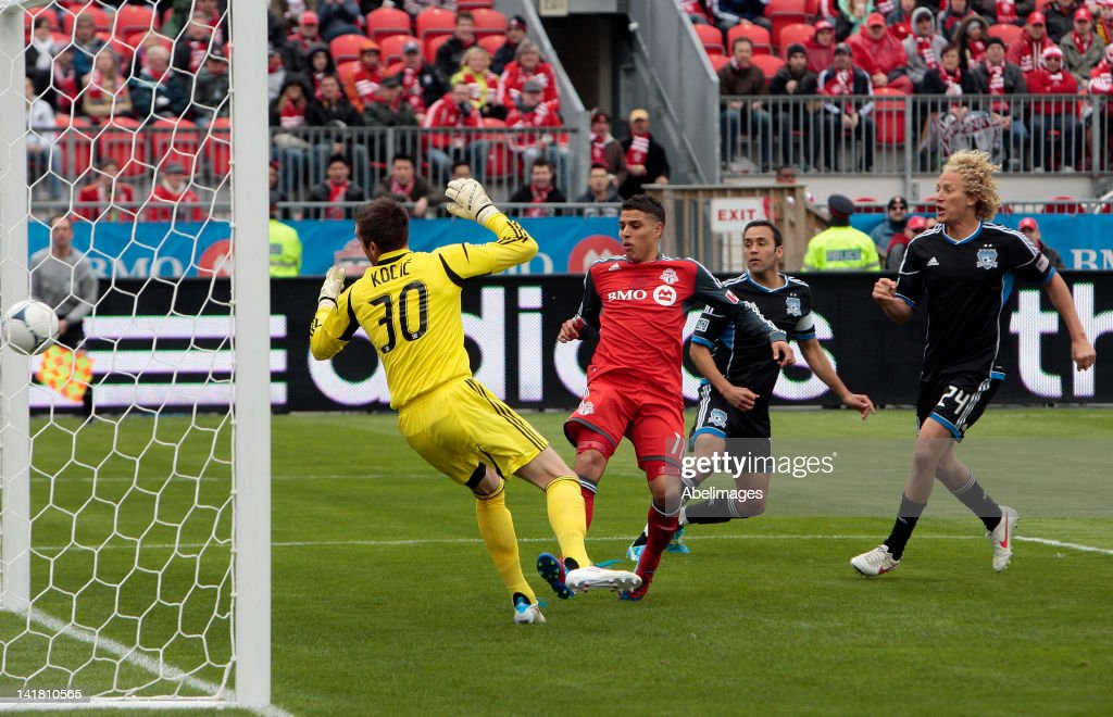 Milos Kocic of Toronto FC is scored on by Chris Wondolowski of San Jose Earthquakes in MLS action at BMO Field March 24 2012 in Toronto Ontario Canada