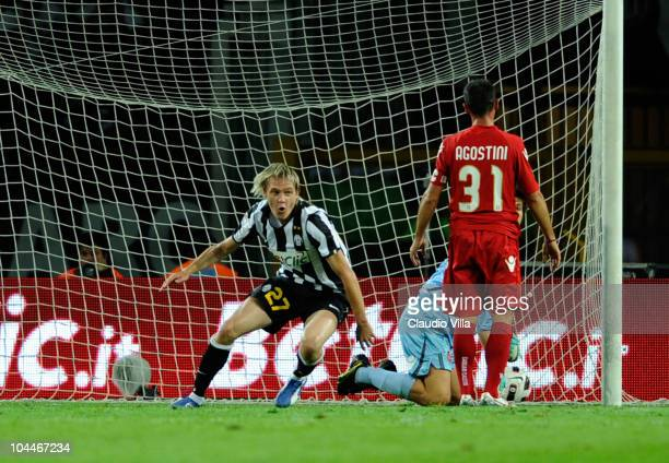 Milos Krasic of Juventus FC scores the second goal during the Serie A match between Juventus and Cagliari at Olimpico Stadium on September 26 2010 in...
