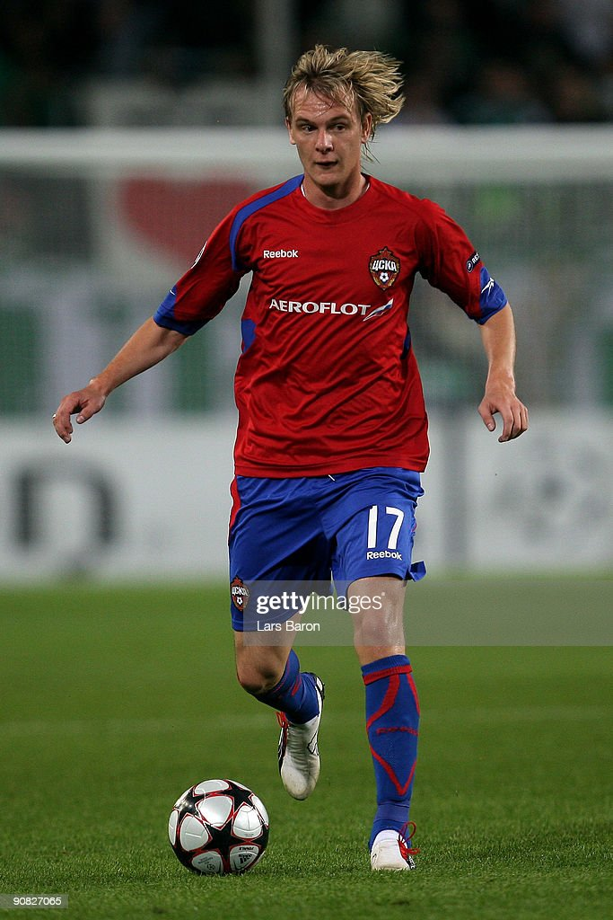 Milos Krasic of Moscow runs with the ball during the UEFA Champions League Group B match between VfL Wolfsburg and CSKA Moscow at the Volkswagen Arena on September 15, 2009 in Wolfsburg, Germany.