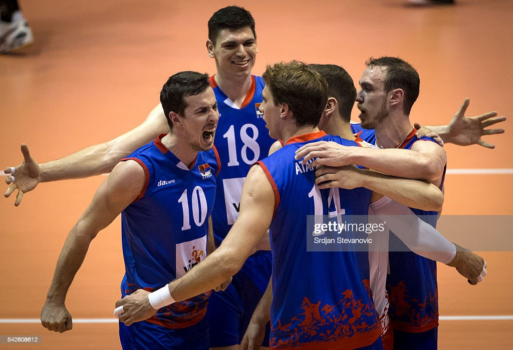 Milos Nikic celebrate with the team mates Aleksandar Atanasijevic and Marko Podrascanin during the match between Brasil and Serbia on the FIVB World...