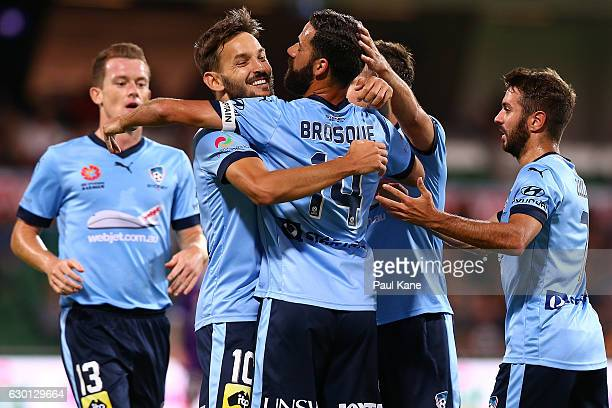 Milos Ninkovic and Alex Brosque of Sydney celebrate a goal during the round 11 ALeague match between Perth Glory and Sydney FC at nib Stadium on...