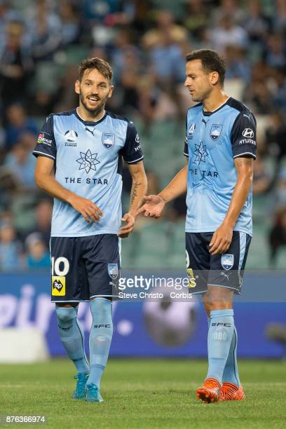 Milos Ninkovic and Deyvison Rogério da Silva mostly known as Bobô of the Sydney FC during the round seven ALeague match between Sydney FC and...