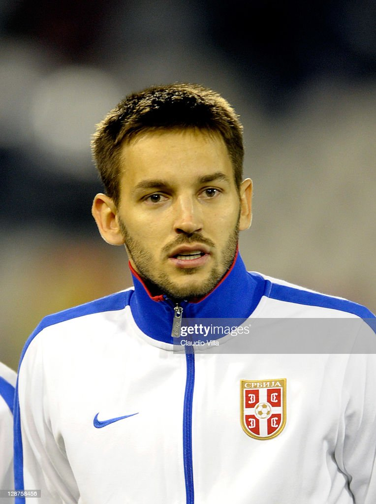 <a gi-track='captionPersonalityLinkClicked' href=/galleries/search?phrase=Milos+Ninkovic&family=editorial&specificpeople=4695877 ng-click='$event.stopPropagation()'>Milos Ninkovic</a> of Serbia during the EURO 2012 Qualifier match between Serbia and Italy at Stadion Crvena Zvezda on October 7, 2011 in Belgrade, Serbia.