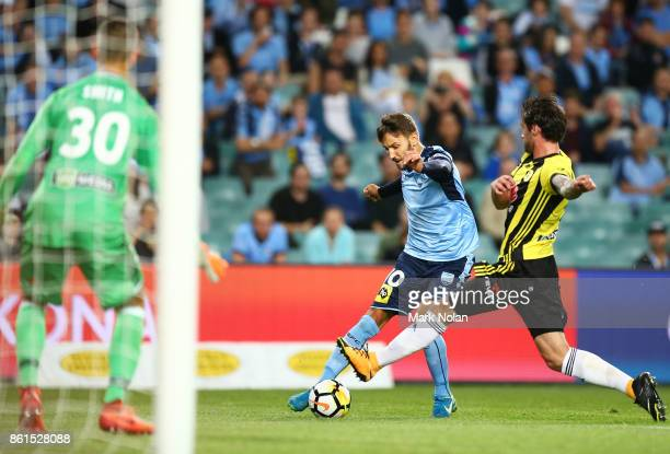 Milos Ninkovic of Sydney attacks the goal during the round two ALeague match between Sydney FC and the Wellington Phoenix at Allianz Stadium on...