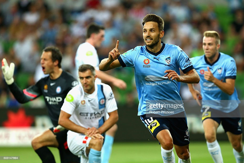 <a gi-track='captionPersonalityLinkClicked' href=/galleries/search?phrase=Milos+Ninkovic&family=editorial&specificpeople=4695877 ng-click='$event.stopPropagation()'>Milos Ninkovic</a> of Sydney celebrates after scoring a goal during the round 13 A-League match between Melbourne City FC and Sydney FC at AAMI Park on January 2, 2016 in Melbourne, Australia.