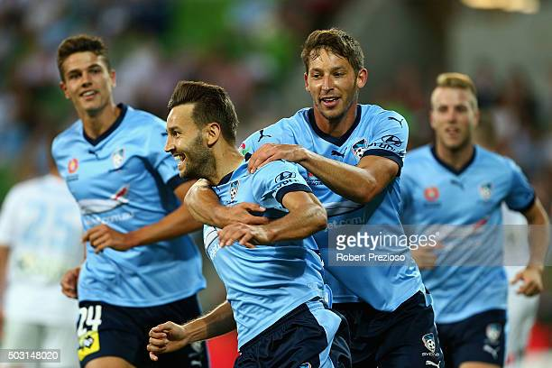 Milos Ninkovic of Sydney celebrates after scoring a goal during the round 13 ALeague match between Melbourne City FC and Sydney FC at AAMI Park on...