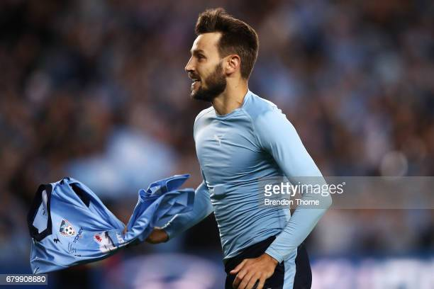 Milos Ninkovic of Sydney celebrates after scoring the winning penalty during the 2017 ALeague Grand Final match between Sydney FC and the Melbourne...