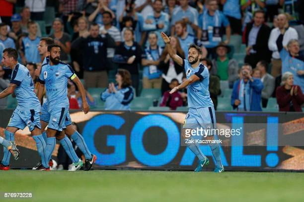 Milos Ninkovic of Sydney celebrates scoring a goal during the FFA Cup Final match between Sydney FC and Adelaide United at Allianz Stadium on...