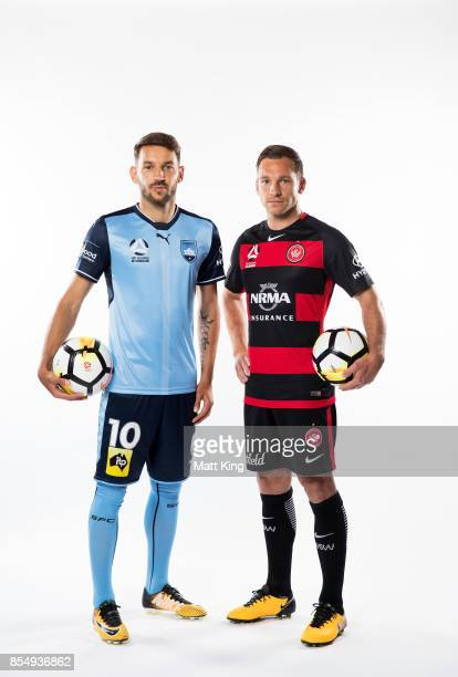 Milos Ninkovic of Sydney FC and Brendon Santalab of the Wanderers pose during the ALeague Media Day on September 26 2017 in Sydney Australia