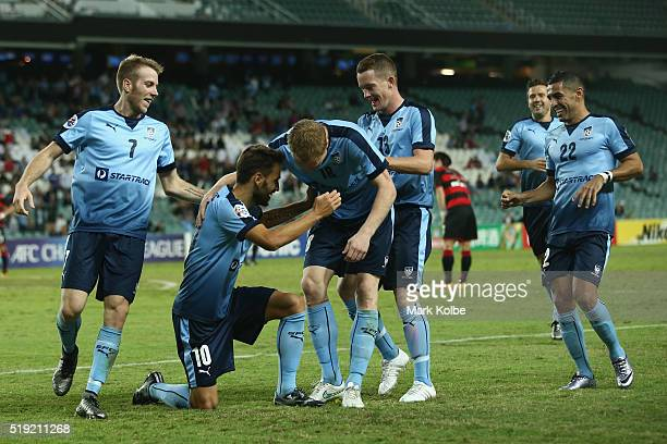 Milos Ninkovic of Sydney FC celebrates with his team after scoring a goal during the AFC Champions League match between Sydney FC and Pohang Steelers...