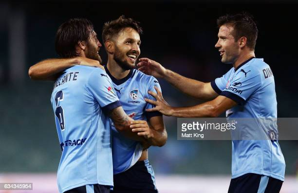 Milos Ninkovic of Sydney FC celebrates with team mates after scoring a goal during the round 19 ALeague match between Sydney FC and the Wellington...