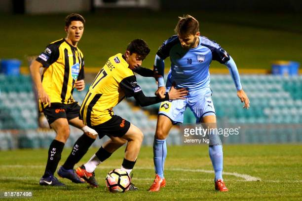 Milos Ninkovic of Sydney FC challenges for the ball during the 2017 Johnny Warren Challenge match between Sydney FC and Earlwood Wanderers at...